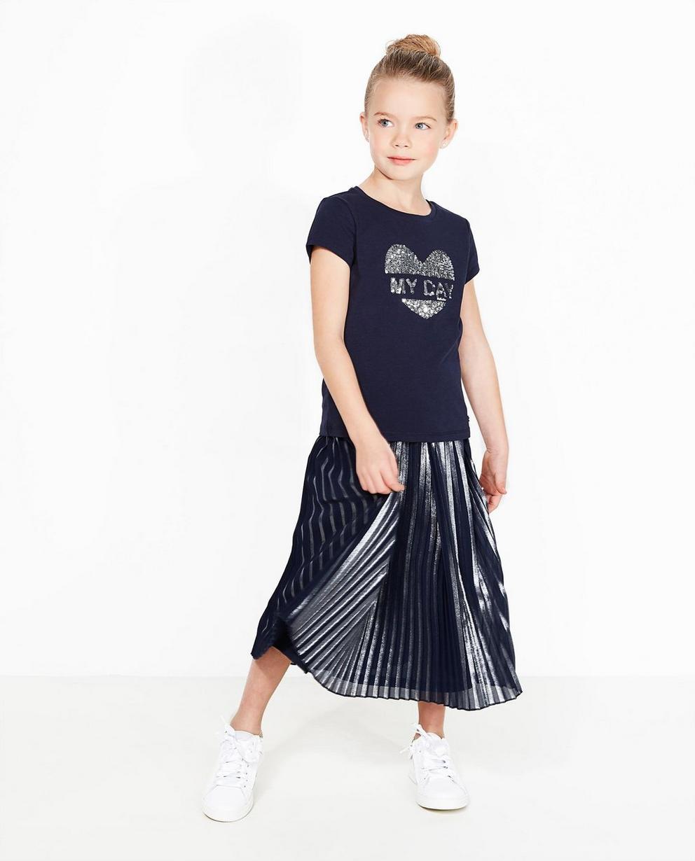Nachtblaues T-Shirt - mit Paillettenherz - JBC